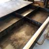 Large pull out metal drawer for custom desk. This picture shows desk still in fabrication process, not yet powder coated.